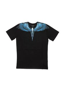 Marcelo Burlon Kids - T-shirt Blue Wings nera