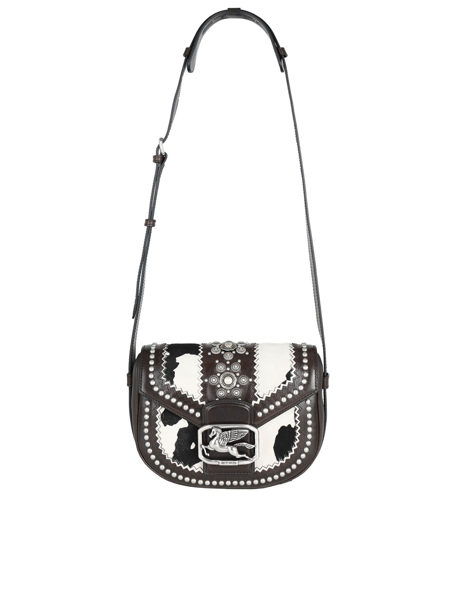 Etro PEGASO STUDS BAG IN BROWN