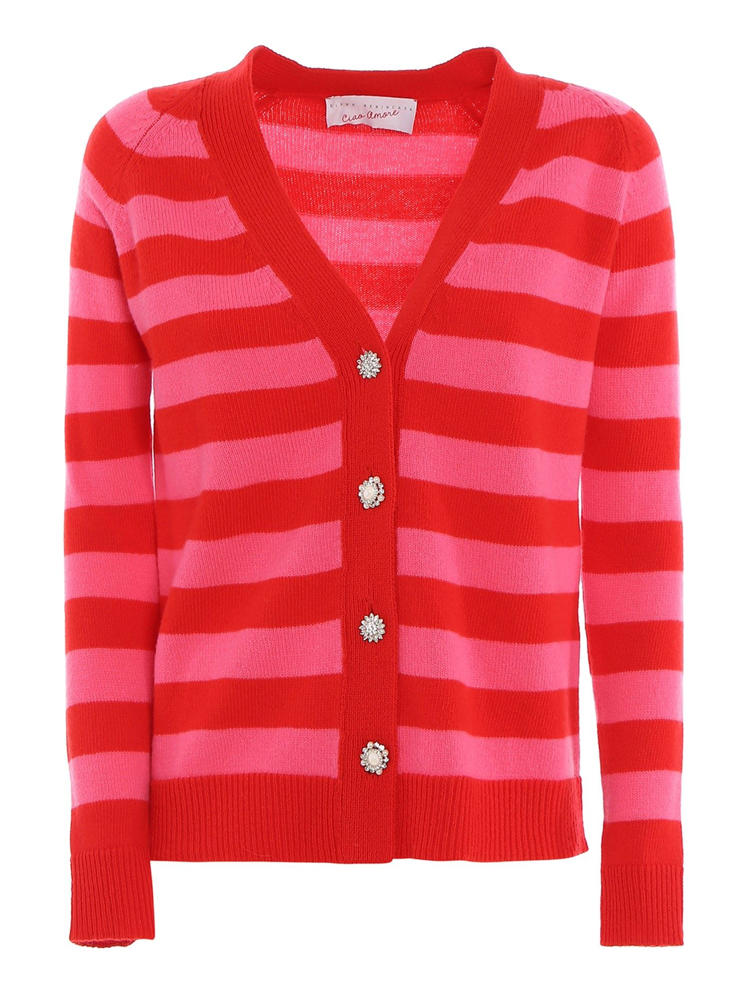 Giada Benincasa STRIPED CARDIGAN WITH EMBELLISHED BUTTONS