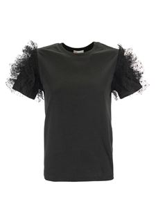 Red Valentino - Tulle point d'esprit sleeved T-shirt