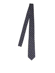 Gucci - GG and Symbols tie in navy blue and beige