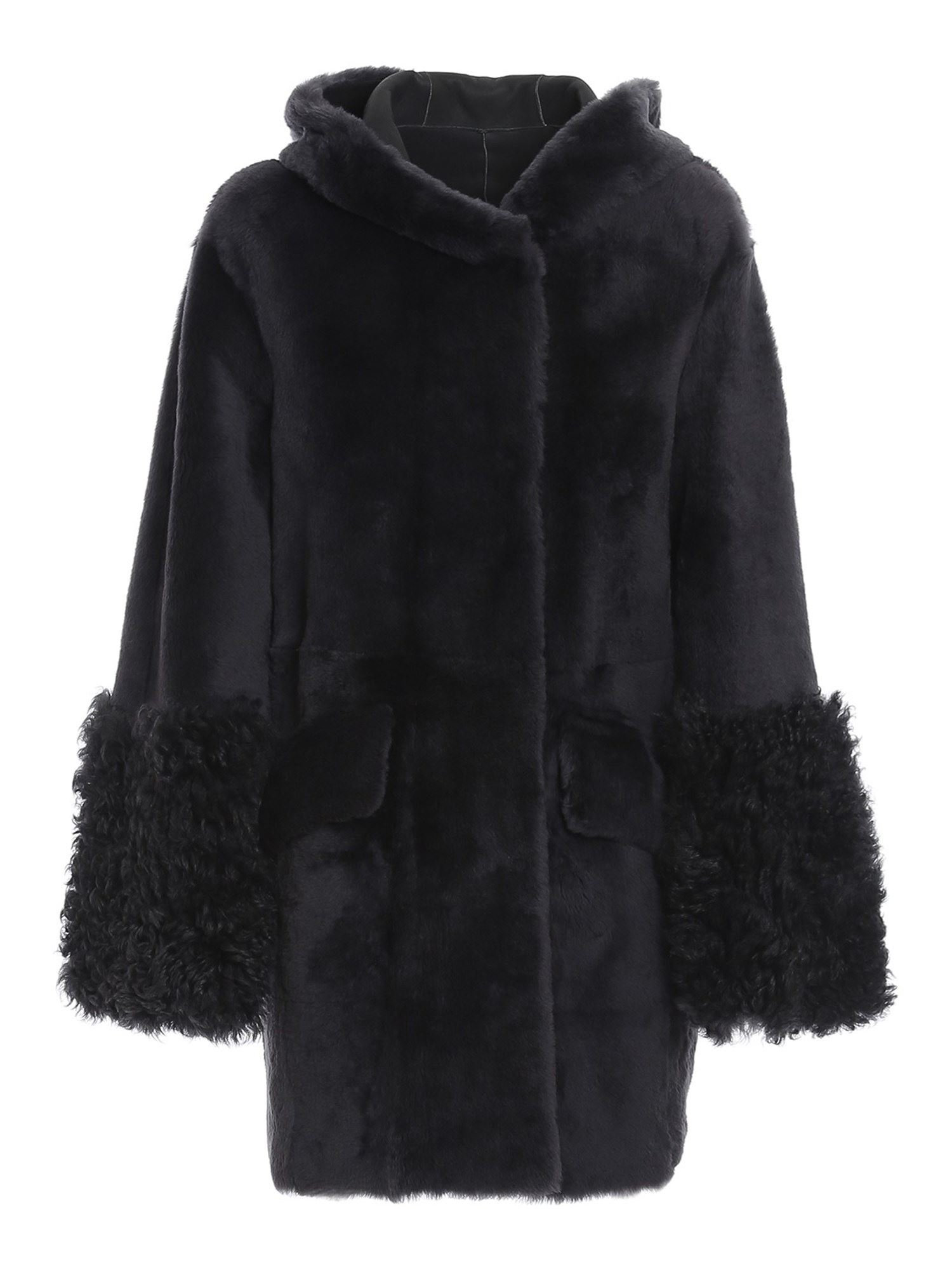 Drome REVERSIBLE SHEARLING HOODED COAT