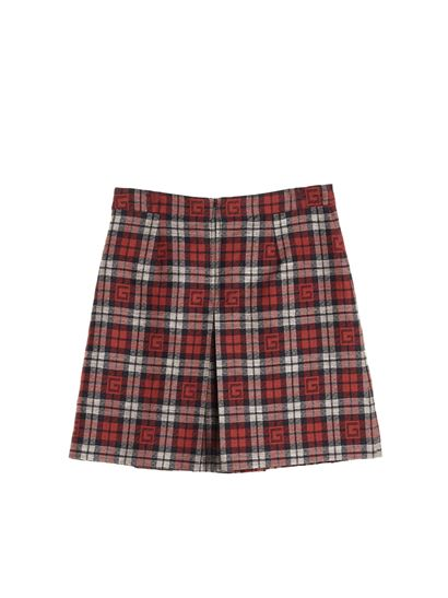 Gucci - Short checked logo skirt in red