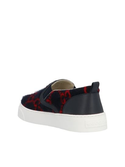 Gucci - GG slip-on sneakers in blue and red