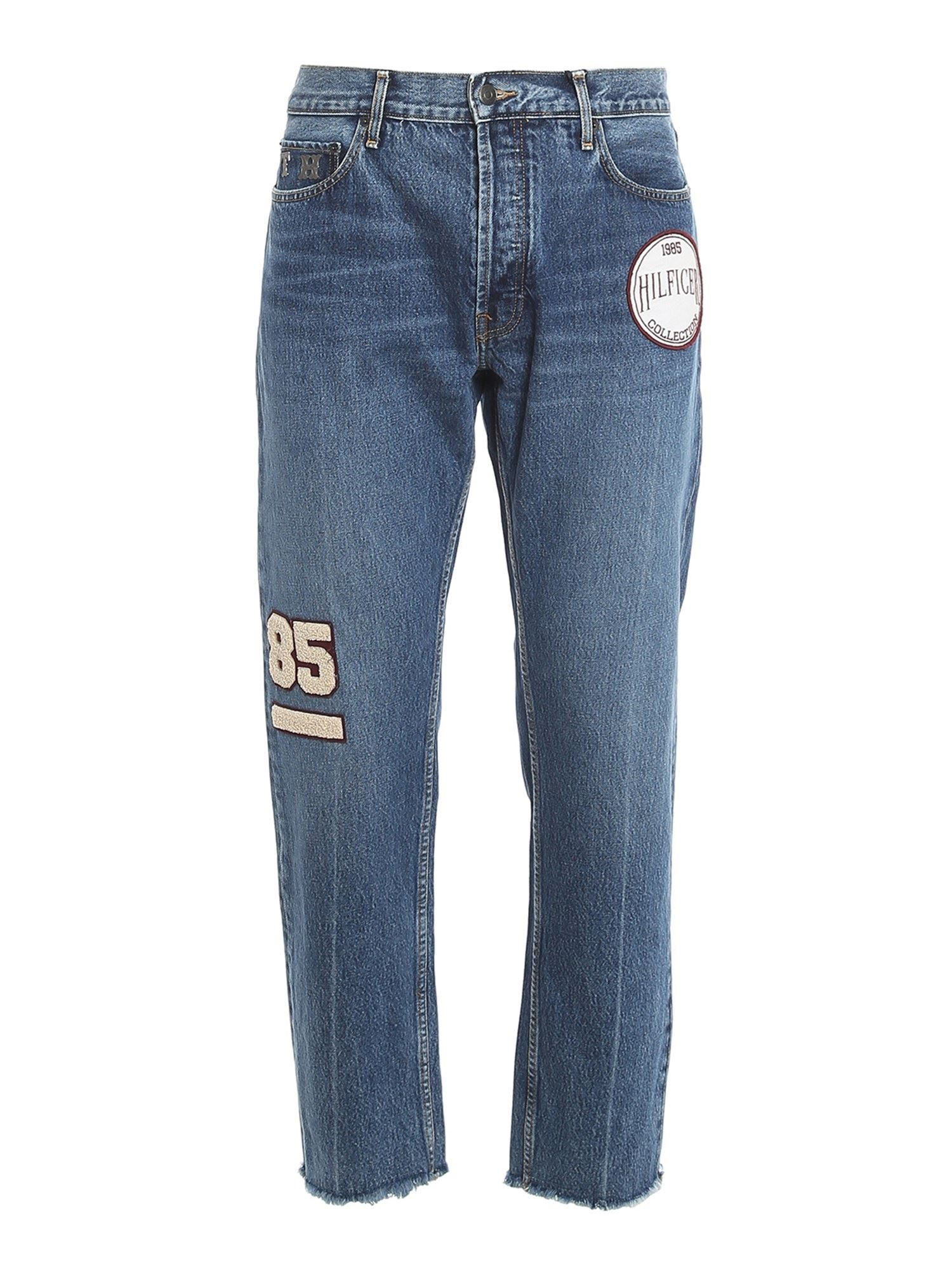 TOMMY HILFIGER EMBROIDERED PATCH CROPPED JEANS