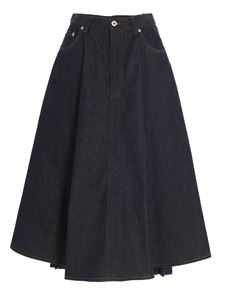 Loewe - Pleated denim skirt in blue