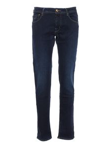 Jacob Cohën - Logo faded jeans in blue