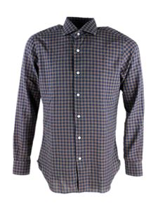 Barba - Plaid shirt in blue and beige