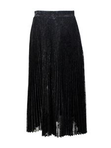Blumarine - Midi pilssé lamé skirt in black