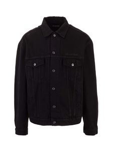 Balenciaga - Logo embroidered denim jacket in black