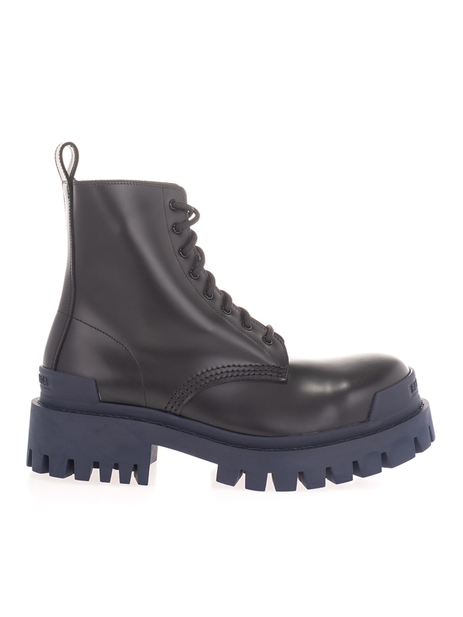 Balenciaga TRACTOR BOOTS IN BLACK AND NAVY BLUE