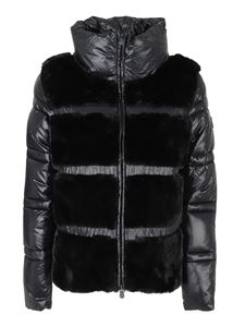 Save the duck - Funnel neck puffer jacket with faux fur
