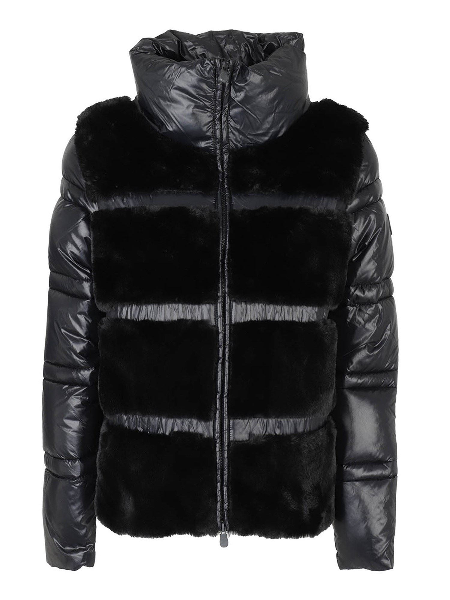 Save The Duck FUNNEL NECK PUFFER JACKET WITH FAUX FUR