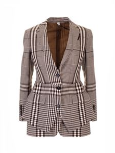 Burberry - Basque detailed tailored jacket in brown