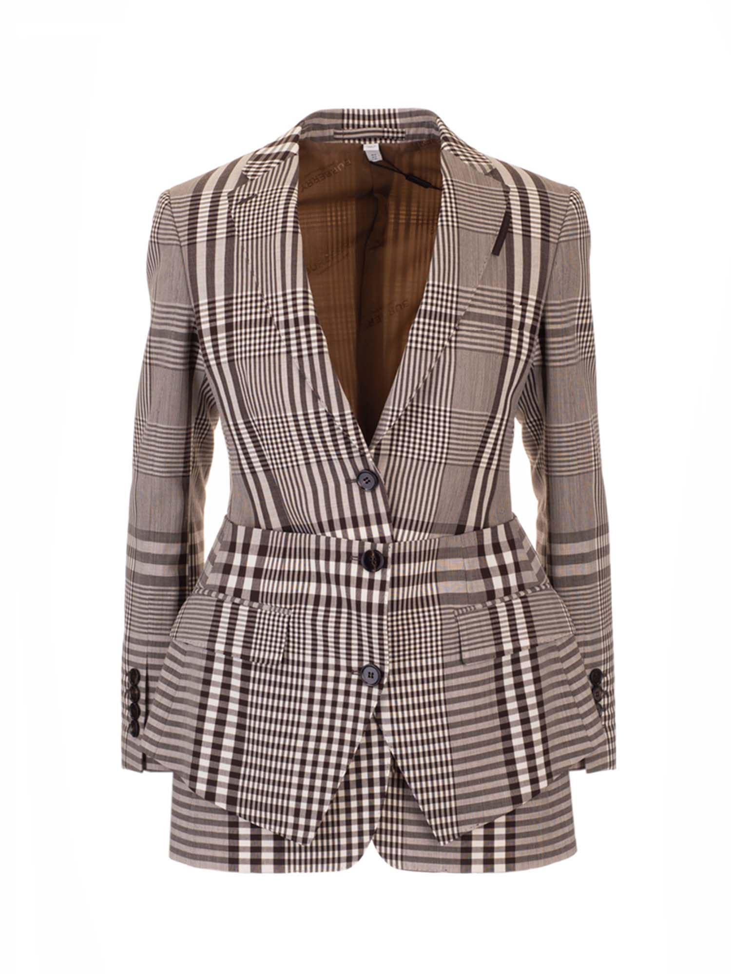 Burberry BASQUE DETAILED TAILORED JACKET IN BROWN