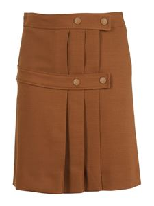 See by Chloé - Wool mini pleated skirt with buttoned straps
