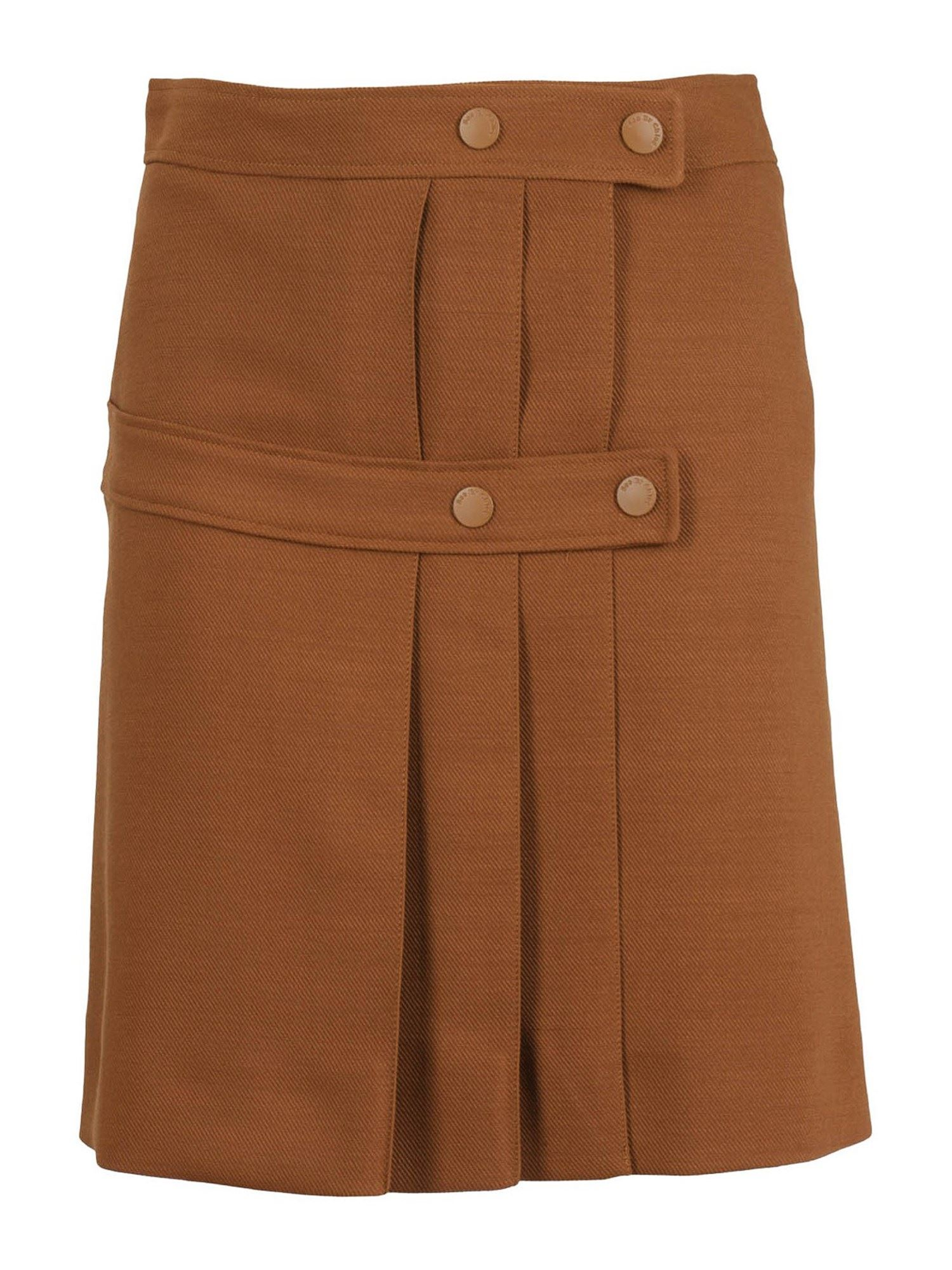 SEE BY CHLOÉ WOOL MINI PLEATED SKIRT WITH BUTTONED STRAPS