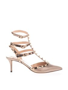 Valentino Garavani - Rockstud pump in laminated brown