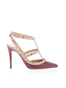 Valentino Garavani - Rockstud pump in burgundy and pink