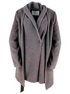 Fabiana Filippi - Knitted finish coat in agate brown color