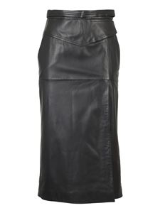 Red Valentino - Lambskin midi skirt with buckles