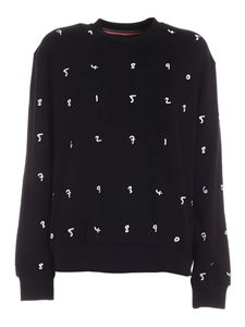 Paul Smith - All-over white embroidery sweatshirt in black