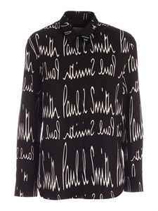 Paul Smith - All-over white print shirt in black