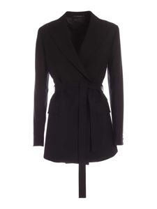 Paul Smith - Belt double-breasted jacket in black