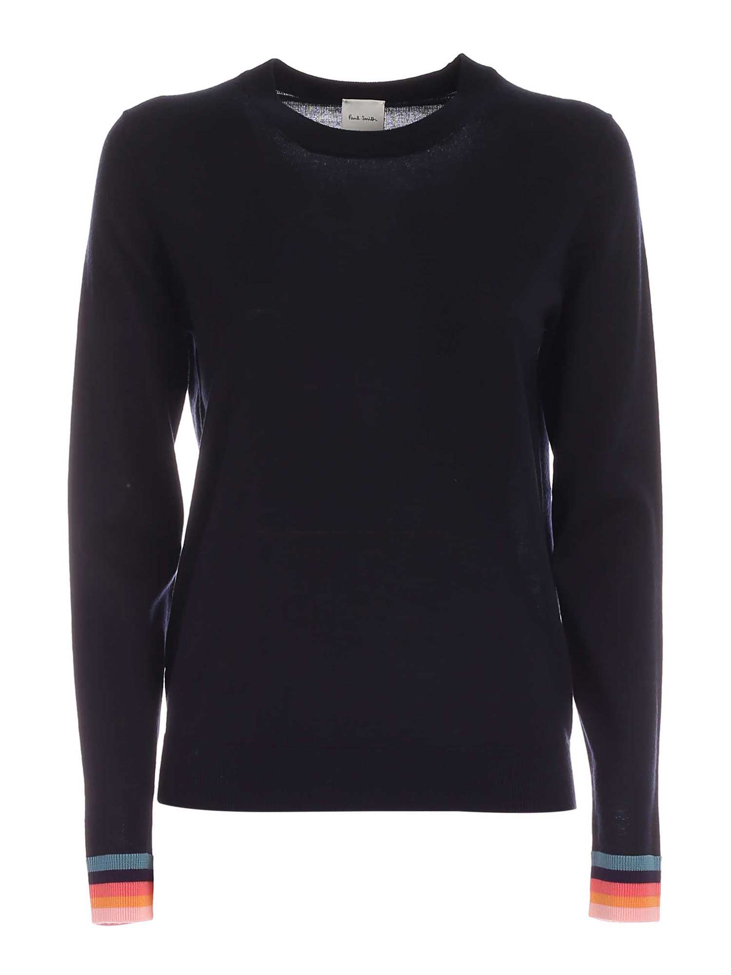 Paul Smith Clothing MULTICOLOR EDGES PULLOVER IN DARK BLUE