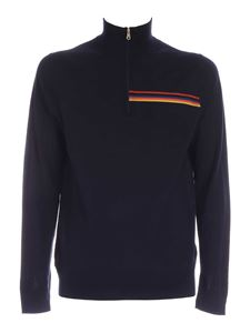 Paul Smith - Zip on the neck pullover in dark blue