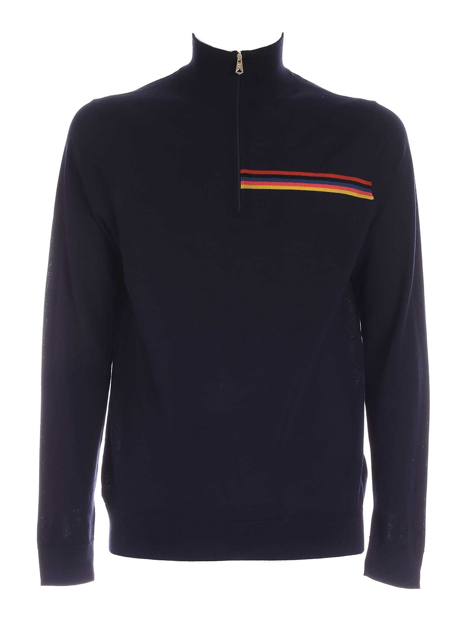 Paul Smith ZIP ON THE NECK PULLOVER IN DARK BLUE