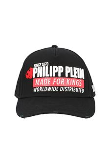 Philipp Plein - King Plein baseball cap in black and red