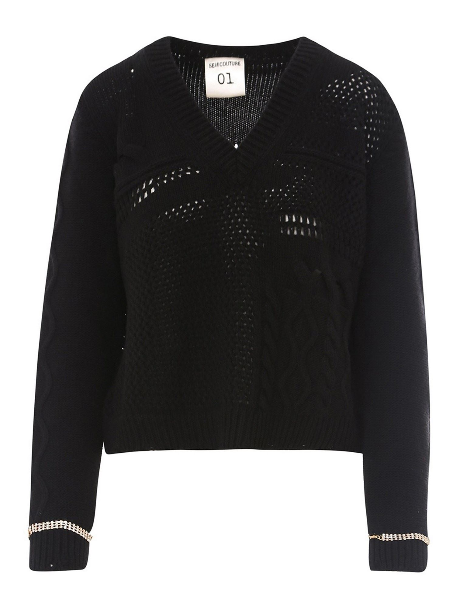 Semicouture CABLE KNIT WOOL V-NECK SWEATER