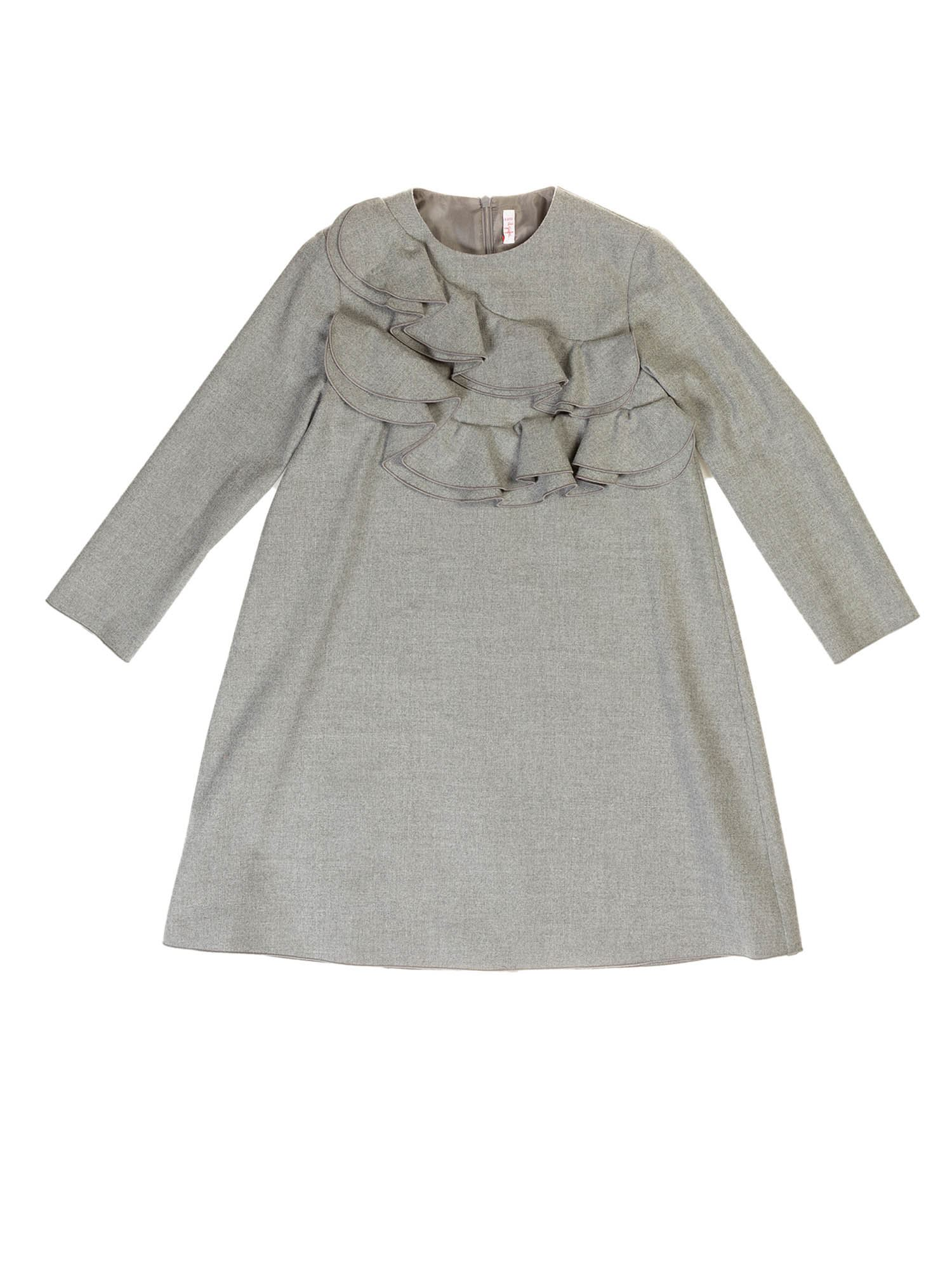 Il Gufo ROUCHES DRESS IN GREY