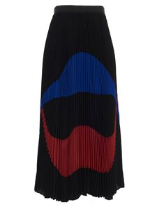 N° 21 - Color block pleated skirt in black