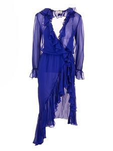 Saint Laurent - Rouches silk dress in blue