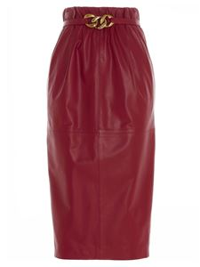 N° 21 - Belt pencil skirt in red