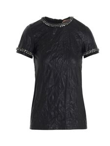 N° 21 - Crackle effect top in black
