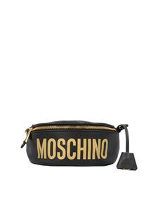 Moschino - Laminated logo belt bag in black and gold
