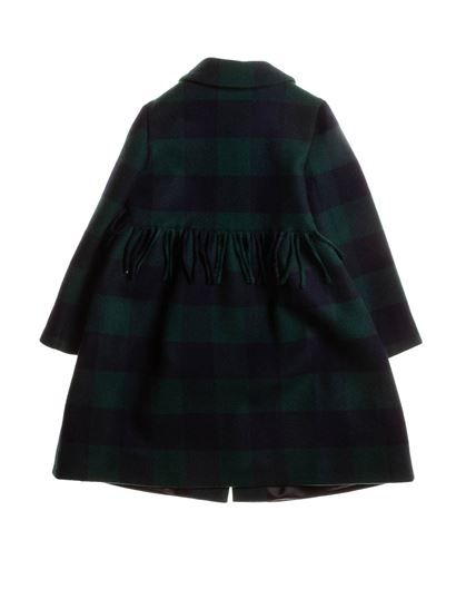 Il Gufo - Fringes coat in blue and green
