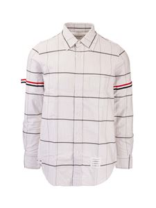 Thom Browne - White shirt with gray stripes