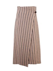Etro - Striped wrap skirt in beige