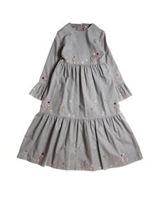 Il Gufo - Floral embroidery dress in grey