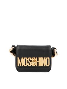 Moschino - Mini metallic logo bag in black and gold