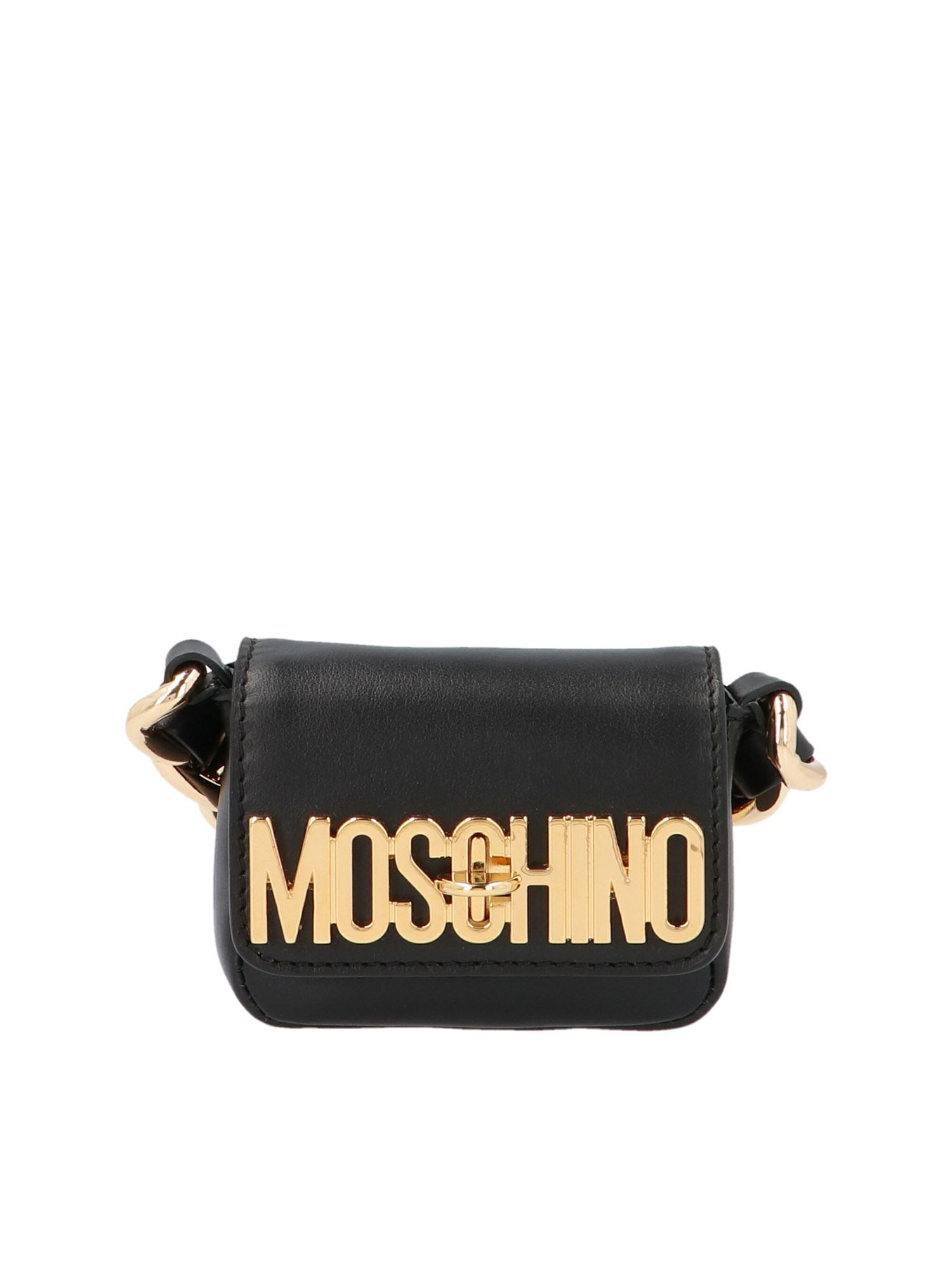 Moschino MINI METALLIC LOGO BAG IN BLACK AND GOLD