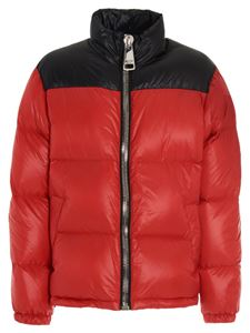 Moschino - Maxi zip logo down jacket in red and black