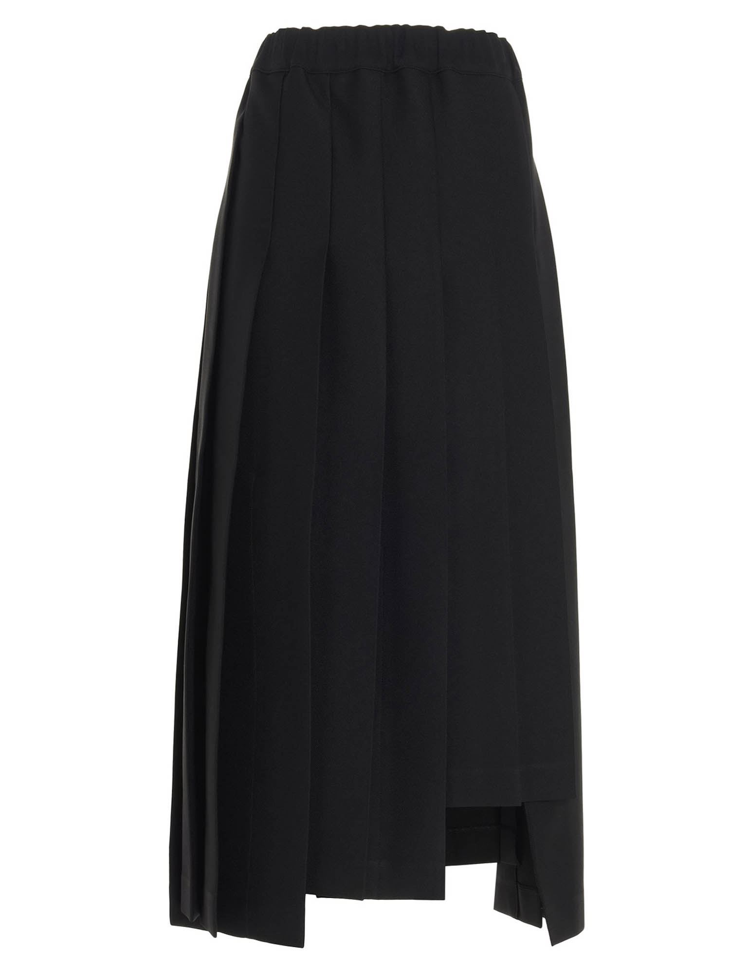 Comme Des Garçons ASYMETRIC PLEATED SKIRT IN BLACK