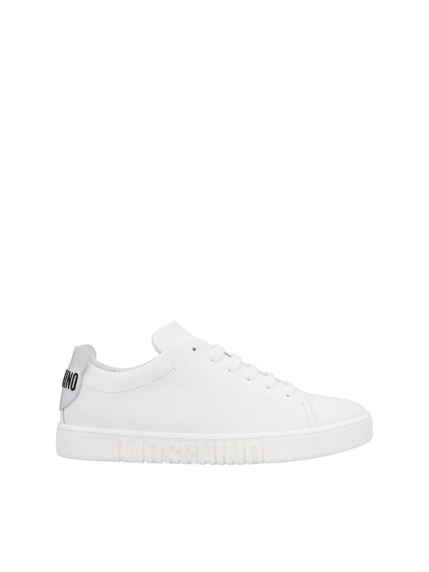 Moschino TEDDY BEAR SNEAKERS IN WHITE AND SILVER