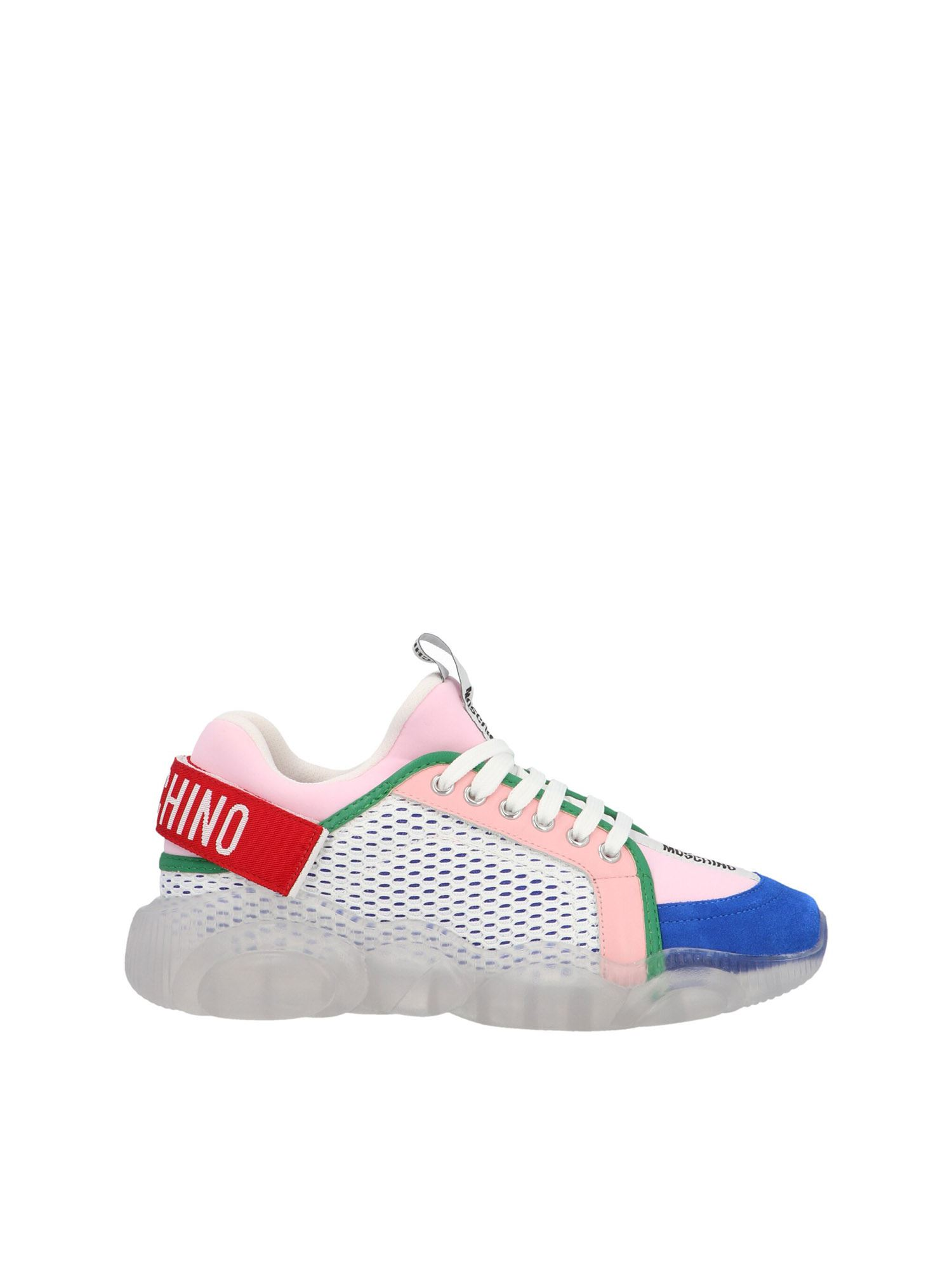 Moschino TEDDY SHOES SNEAKERS IN WHITE AND TRANSPARENT