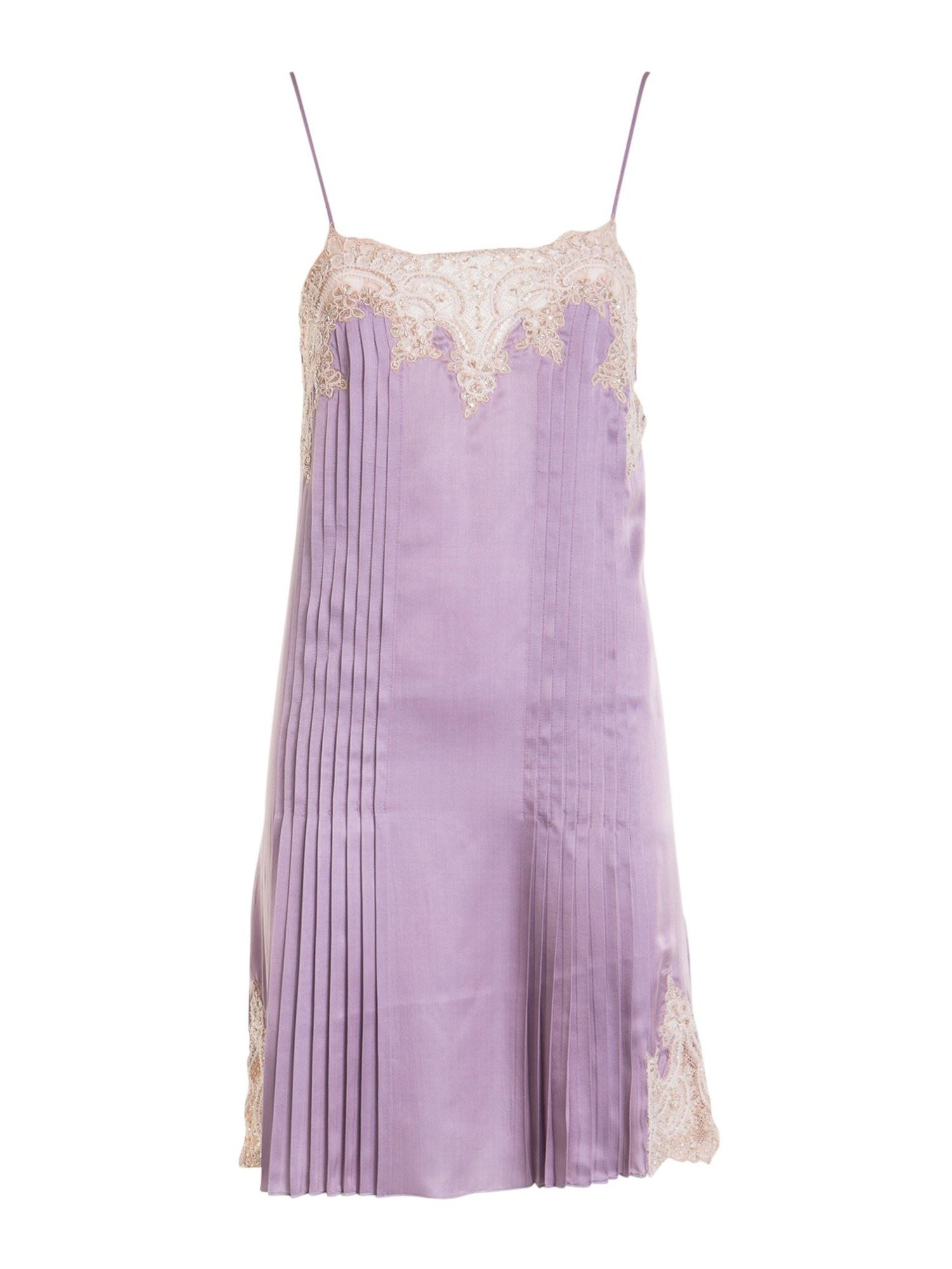 Blumarine LACE INSERT PLEATED DRESS